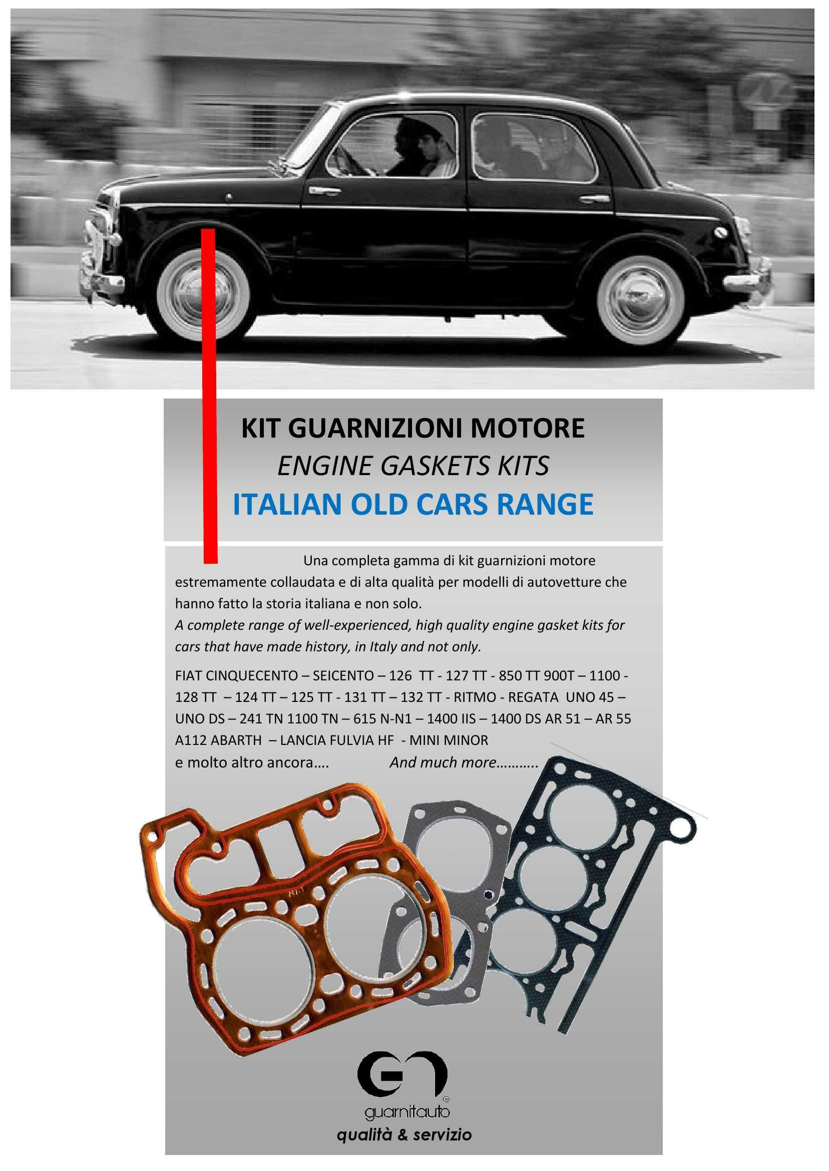 ENGINE GASKETS FOR FIAT GROUP CLASSIC CARS